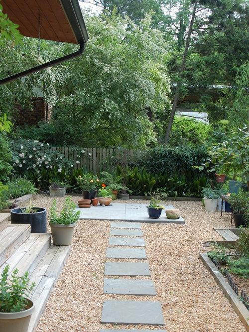 Inspiration For A Midcentury Modern Backyard Landscaping In Atlanta.