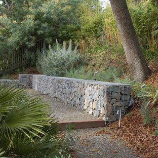 Immagine di un giardino moderno con un pendio, una collina o una riva e ghiaia