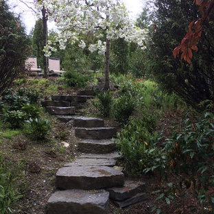 Design ideas for a mid-sized traditional shade hillside stone garden path in Vancouver for spring.