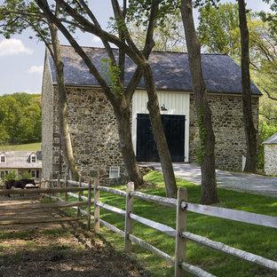 Design ideas for a farmhouse backyard driveway in Philadelphia.