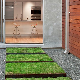 Inspiration for a mid-sized modern backyard lawn edging in Houston.