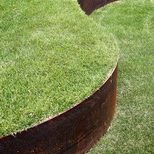 Aménagement d'un petit xéropaysage avant moderne au printemps avec une exposition ensoleillée et des bordures.