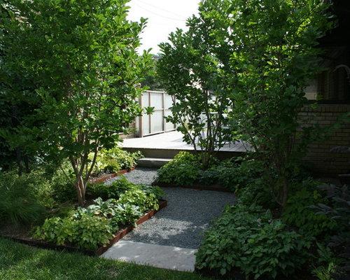 modelo de jardn industrial en patio lateral con gravilla
