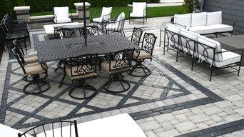 modern back yard brick paver porch