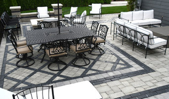 modern back yard brick paver porch