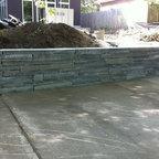 Flagstone Patio With Bluestone Retaining Wall Modern
