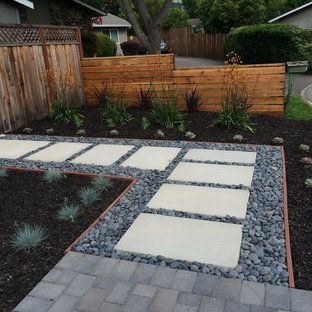 サンフランシスコの中サイズのモダンスタイルのおしゃれな前庭 (ゼリスケープ、日向、マルチング舗装) の写真