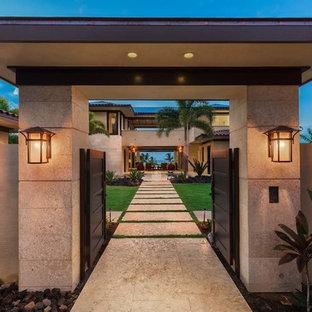Foto di un grande giardino formale tropicale esposto in pieno sole davanti casa in primavera con un ingresso o sentiero e pavimentazioni in cemento