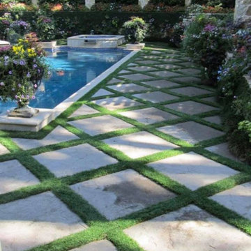 Synthetic Grass with Concrete Pavers