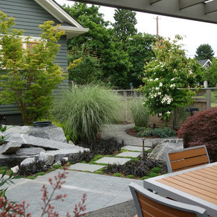 Design ideas for a mid-sized industrial shade backyard concrete paver formal garden in Portland for summer.