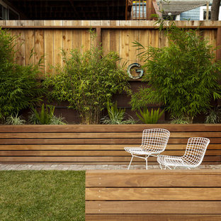 This is an example of a contemporary backyard raised garden bed in San Francisco.