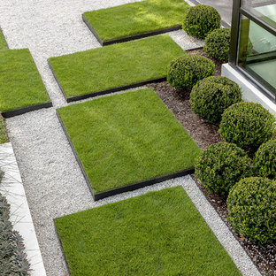 Expansive modern front yard full sun garden in Houston with gravel and with lawn edging.