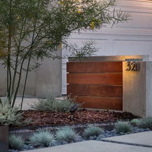 Idéer för mellanstora funkis trädgårdar i delvis sol som tål torka och framför huset på sommaren, med utekrukor och marksten i betong