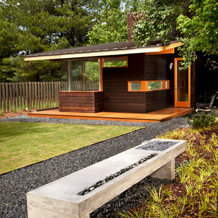 Design ideas for a mid-sized modern partial sun backyard gravel landscaping in Atlanta.