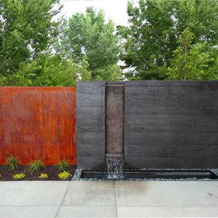 Esempio di un giardino moderno con fontane e pavimentazioni in cemento
