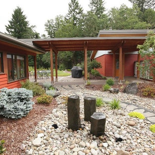 This is an example of a contemporary side yard river rock water fountain landscape in Portland.