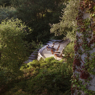 Inspiration for a large modern partial sun and drought-tolerant backyard concrete paver water fountain landscape in Los Angeles for summer.