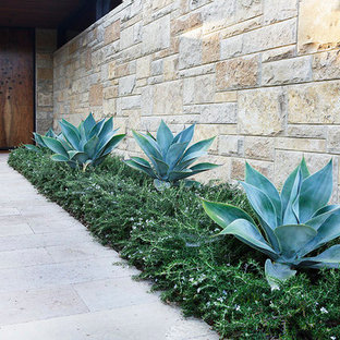 Design ideas for a large modern drought-tolerant and partial sun backyard concrete paver landscaping in Los Angeles for summer.
