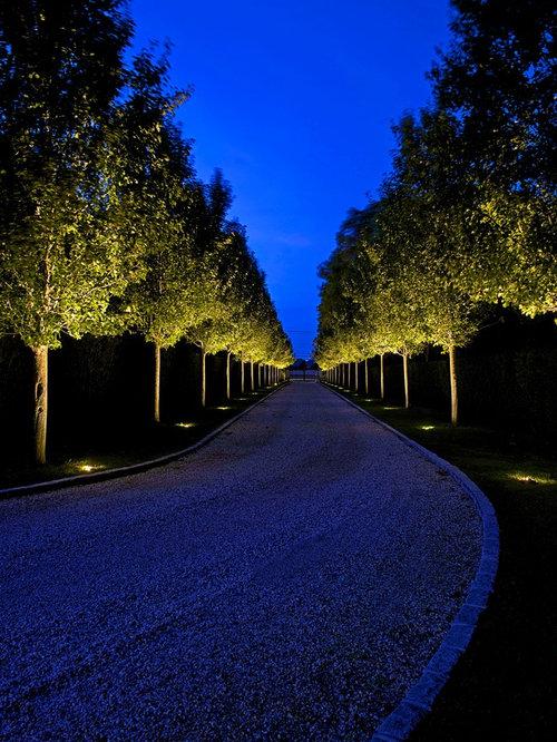 Modern tuscan estate for Driveway landscape lighting