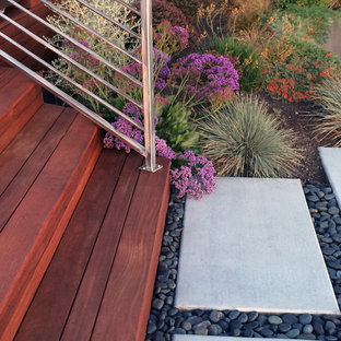 Design ideas for a huge contemporary full sun hillside garden path in San Francisco with decking for fall.