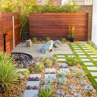 Cette image montre un petit xéropaysage latéral design avec des pavés en pierre naturelle, une entrée ou une allée de jardin et une exposition partiellement ombragée.