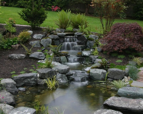 Outdoor ponds and waterfalls houzz for Koi pool water gardens thornton