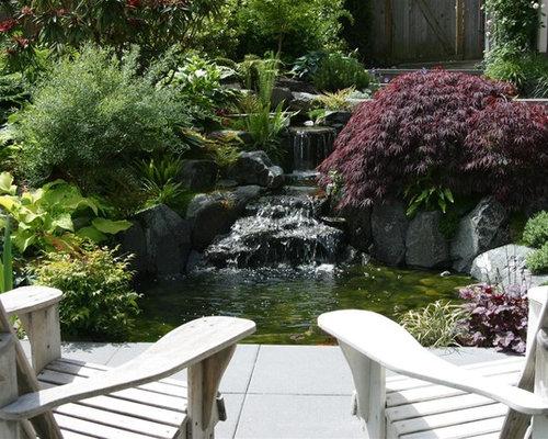Contemporary Japanese Garden Waterfall Pond Home Design