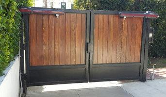 Motorized Iron Framed Gate with Wood Paneling