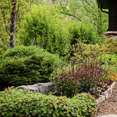 Photo of a mid-sized traditional full sun front yard gravel driveway in Charlotte for spring.