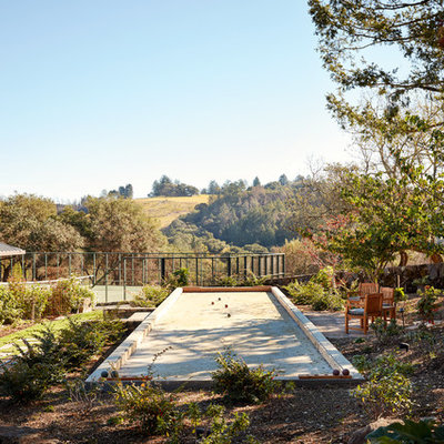 This is an example of a farmhouse partial sun outdoor sport court in San Francisco.