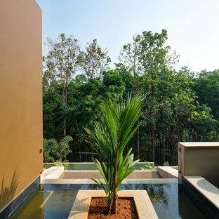 Esempio di un giardino formale minimalista esposto a mezz'ombra sul tetto con fontane