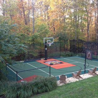 Design ideas for a huge farmhouse partial sun backyard concrete paver outdoor sport court in DC Metro for summer.
