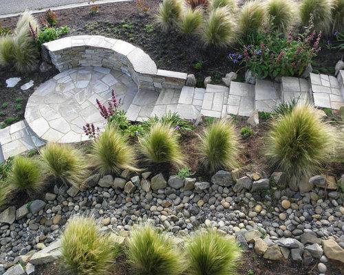 River Rock Landscape Home Design Ideas Pictures Remodel