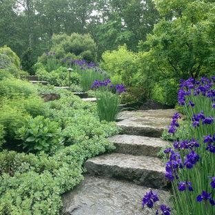 Пример оригинального дизайна: геометрическая, солнечная, весенняя садовые дорожки и калитки среднего размера на переднем дворе в стиле рустика с освещенностью и покрытием из каменной брусчатки