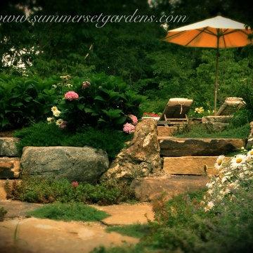 Natural Stone Steps, Rustic Patio & Perennials