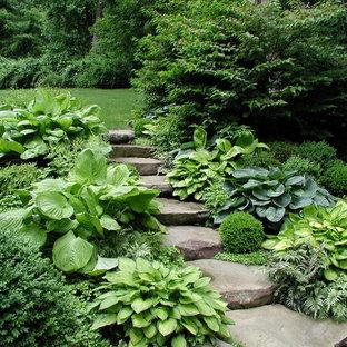 Schattiger Moderner Hanggarten Mit Gartenweg Und Natursteinplatten In New  York