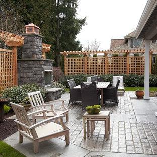 Immagine di un giardino design esposto a mezz'ombra di medie dimensioni e dietro casa in inverno con un focolare e pavimentazioni in cemento