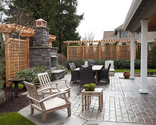 Jardin l'hiver avec un foyer extérieur : photos et idées déco de ...