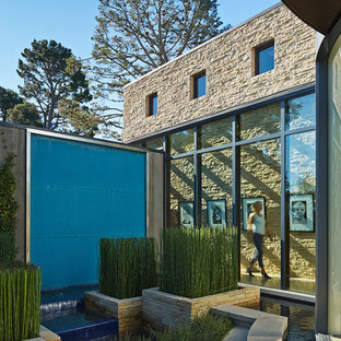 This is an example of a contemporary garden in San Francisco with a water feature.