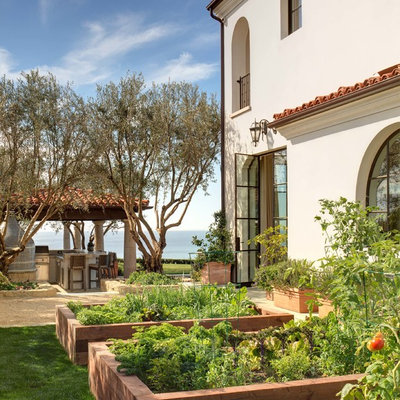 This is an example of a mediterranean vegetable garden landscape in Orange County.