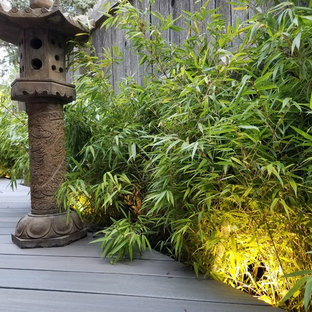 Inspiration for a small asian drought-tolerant and partial sun side yard water fountain landscape in Denver with decking for summer.