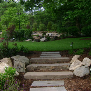 This is an example of a mid-sized traditional partial sun backyard formal garden in Other.