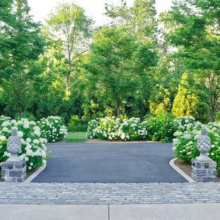 Geräumiger, Schattiger Klassischer Vorgarten mit Auffahrt und Blumenbeet in Washington, D.C.