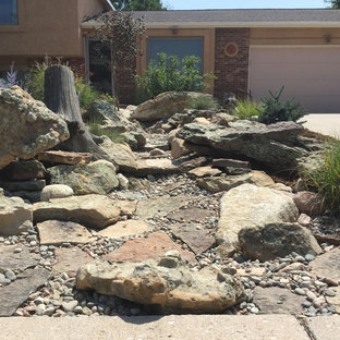 Photo of a mid-sized transitional full sun front yard concrete paver landscaping in Denver.