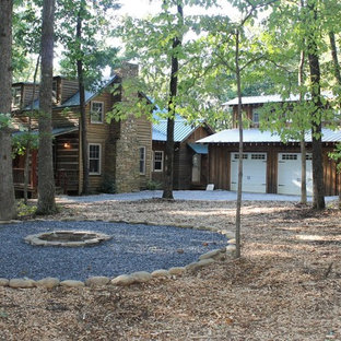 Design ideas for a rustic landscaping in Atlanta with a fire pit.