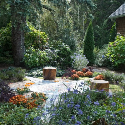 Inspiration for an eclectic shade backyard garden path in New York.