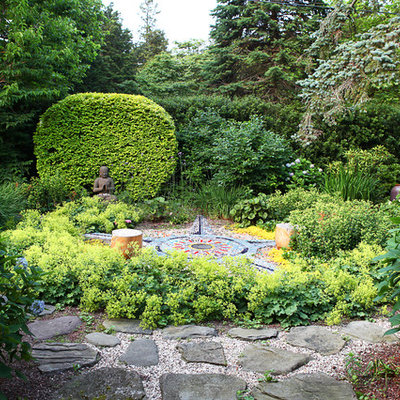Photo of an eclectic shade backyard stone landscaping in New York.