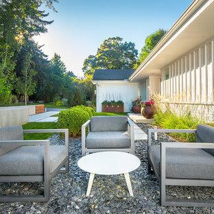 Imagen de camino de jardín actual, en patio delantero, con adoquines de hormigón