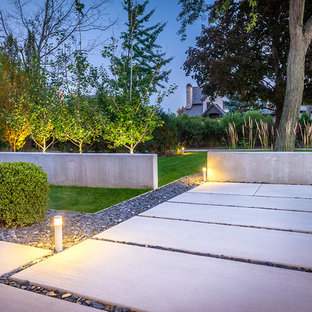 Design ideas for a contemporary front yard concrete paver garden path in Chicago.