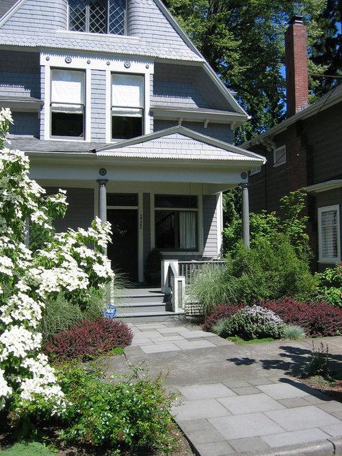 jardin victorien avec des pav s en b ton photos et id es d co de jardins. Black Bedroom Furniture Sets. Home Design Ideas